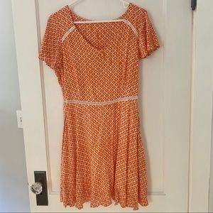 Orange Dress with ruffled sleeves